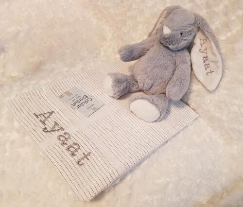 Personalised Baby Bundle Ensemble Cadeau-Cellulaire Couverture-LONGUES OREILLES Plush Bunny