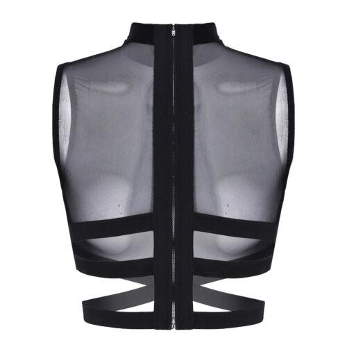 Damen Riemchen Mesh Crop Top Bluse Bauchfrei Kurz Unterhemd Bustier Tank Tops