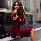 Women Winter Off Shoulder Long Sleeve Jumper Sweater Bodycon Mini Dress Clubwear