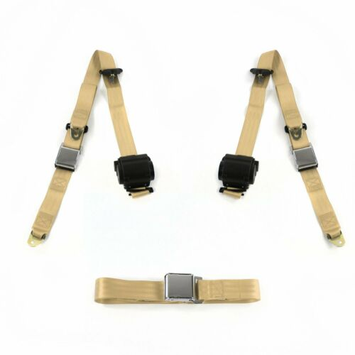 Ford Fairlane 1962-1965 Airplane 3pt Tan Retractable Bench Seat Belt Kit 3