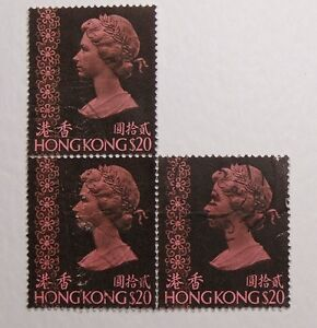 Postage-Stamp-Block-3-Hongkong-Queen-Elizabeth-II-Blackish-Purple-20-1973-37
