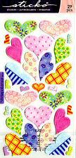 NEW Stickers Vellum HEARTS Sticko Flower Pastel Scrapbooking Crafts CARDMAKING ~