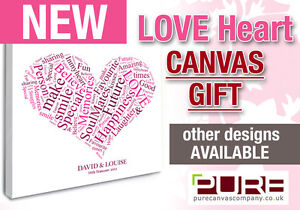Love Words Heart Canvas Gift for Valentines Day