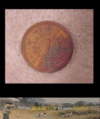 Antique 1861 US Civil War Token / Coin Knickerbocker Currency IOU 1 Cent