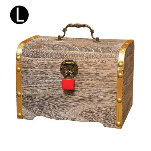 Handmade Solid Wooden Retro Money Jewelry Cash Storage Box  Piggy Bank