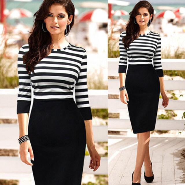 Women Lady Slim Striped Bodycon Party Cocktail Clubwear Pencil Dress Stylish