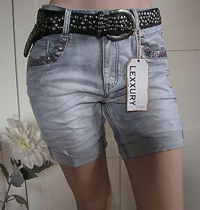 LEXXURY-Jeans-Shorts-Hose-Capri-Bermudas-Boyfriend-used-grau-Pailletten-34-42