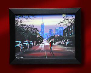 ORIGINAL-FINE-ART-OIL-PAINTING-BY-PETE-RUMNEY-039-HEADING-FOR-THE-CITY-039-CITYSCAPE