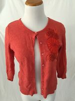 TABITHA Anthropologie coral red cotton cashmere embroidered cardigan sweater S