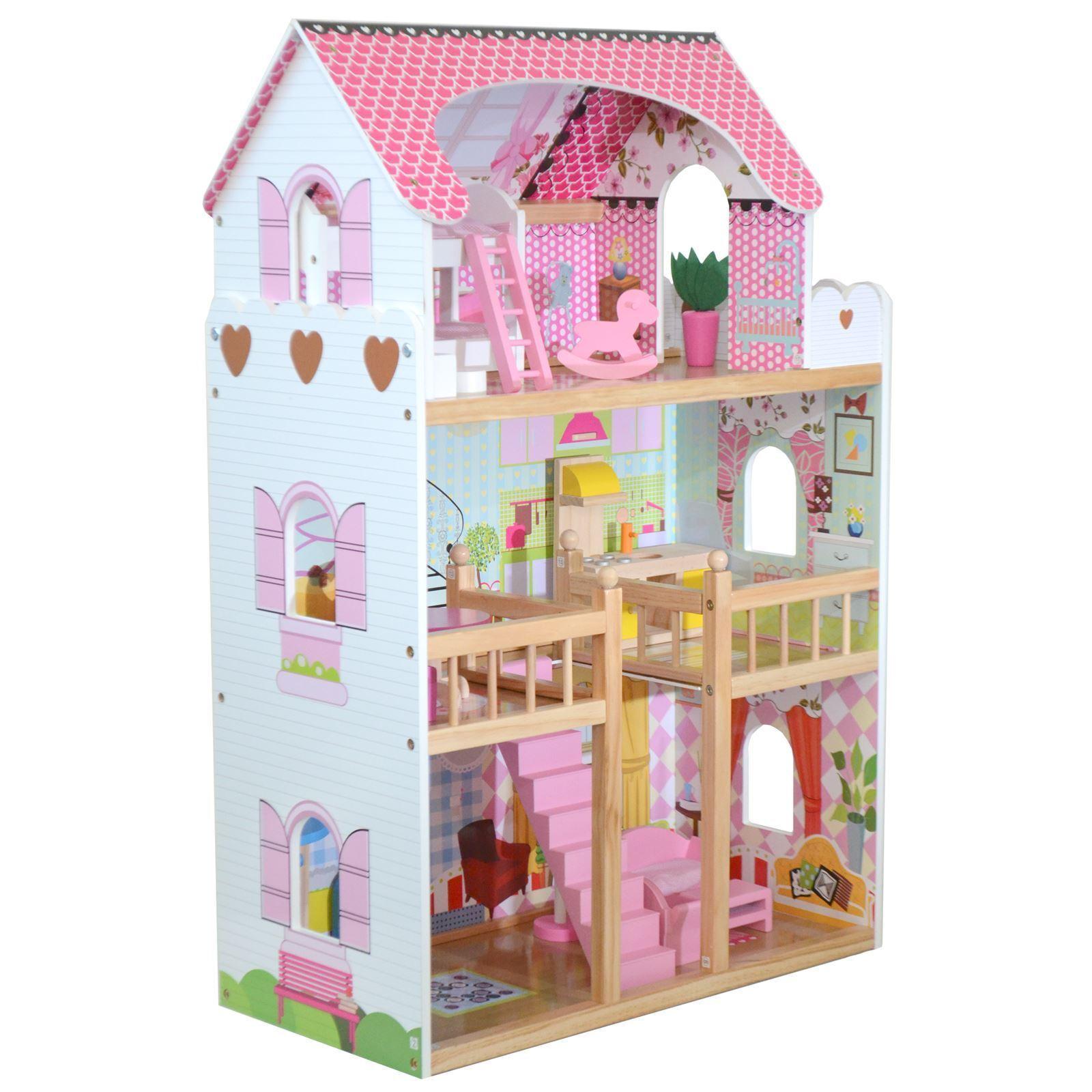 Boppi® Toy Wooden Girls Dolls House 3 Storey Town Mansion+ Furniture Accessories