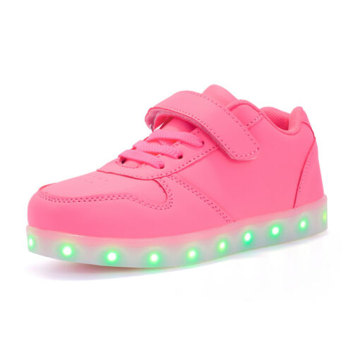 UK Kids Boys Girls Light Up Shoes Charge LED Trainers Sneakers XMAS Gift 8-Style