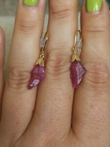Natural-6-2-carats-rough-red-pink-Ruby-solid-9ct-gold-drop-dangle-hook-earrings