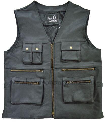 New Men's Black Biker Motorcycle Multi Pocket Genuine Leather Waistcoat Vest