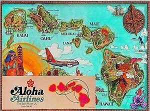 Aloha Airlines Hawaii Map United States Vintage Travel Ad Decor Art Poster Print