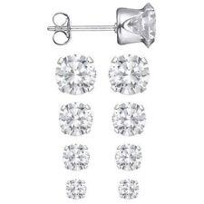 4 套裝尺寸 .925 純銀 3.75 CTW 圓形人造寶石耳釘耳環