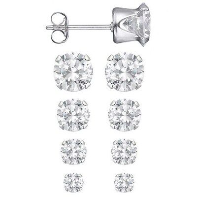 Set of 4 Sizes .925 Sterling Silver 3.75 CTW Round CZ Studs Earrings