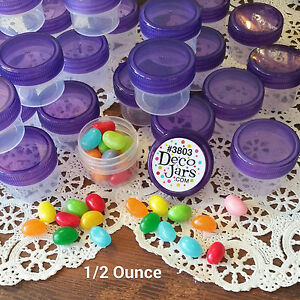 12-Clear-Jars-Purple-Caps-Small-Plastic-Containers-1Tblsp-1-2-oz-3803-DecoJars