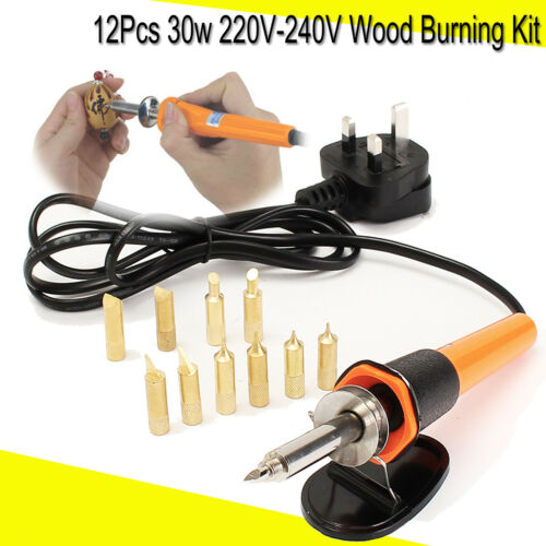 30W Soldering Solder Iron Set Wood Burning Pen Pyrography Tool /& 10X Brass Tips
