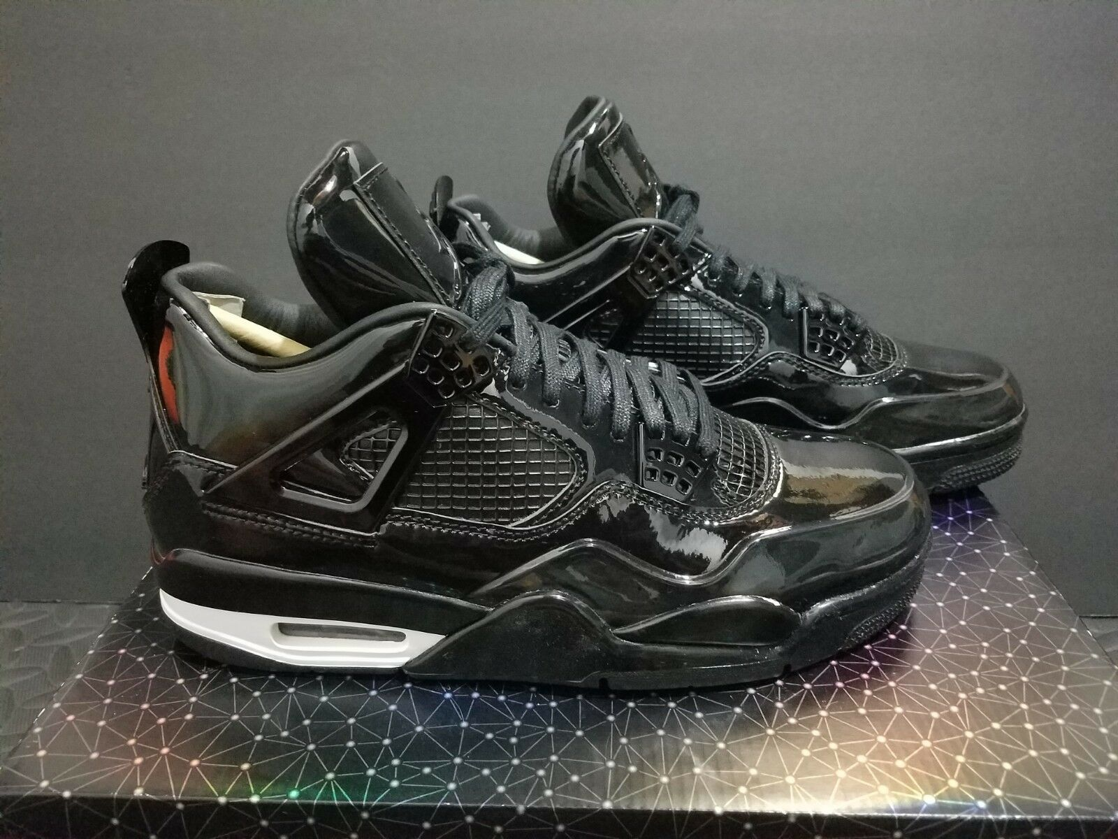 Nike Air Jordan 4 11Lab4 Black Patent Leather 719864-010 Size 7
