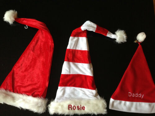 FREE EMBROIDERED NAME THIS WEEK ONLY PERSONALISED LUXURY CHRISTMAS SANTA HATS