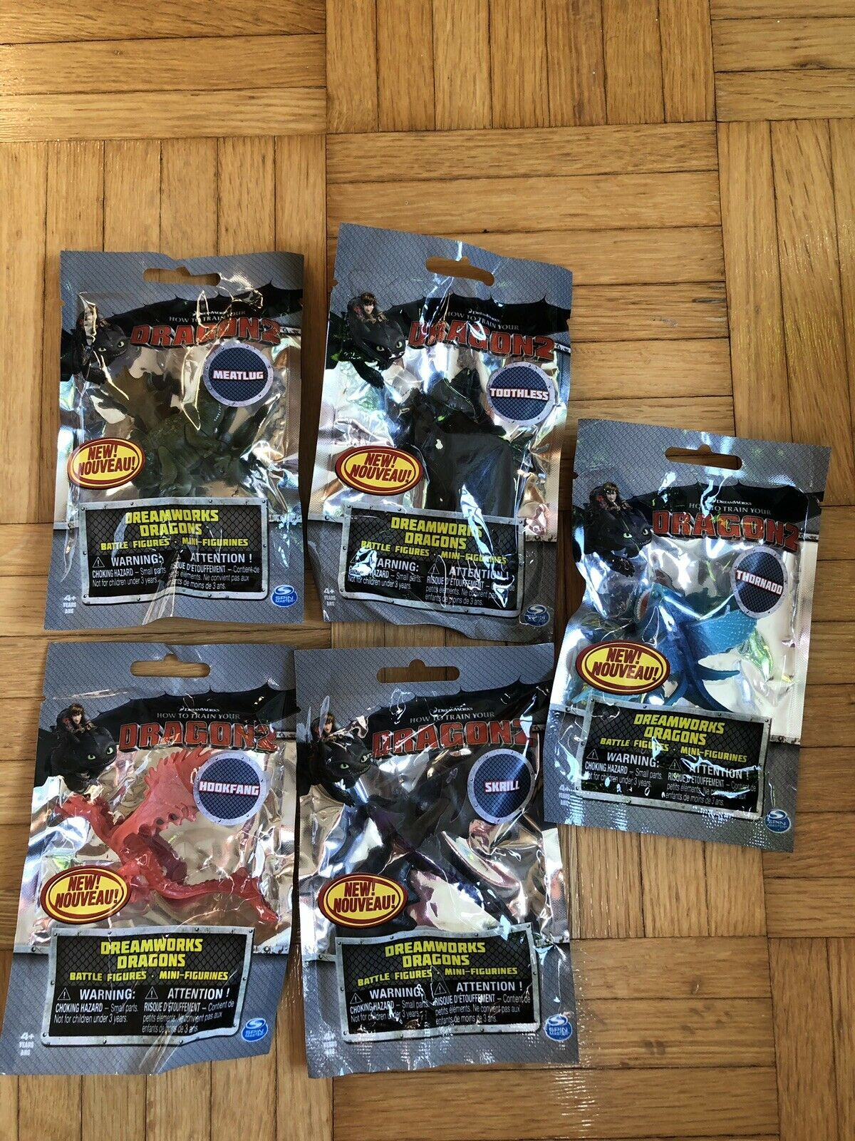NEW Sealed How To Train Your Dragons 2 Battle Dragons Mini Figures Set Of 5 Bags
