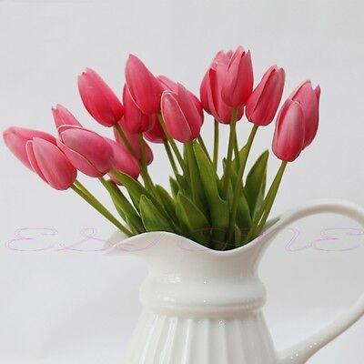 Fashion 1/12/24 Tulip Flower Artificial Latex Wedding Bouquet Home Garden Decor