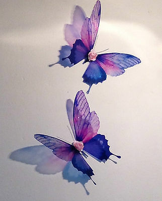2 pink purple sparkling 3d butterflies wall mounted butterfly art with roses