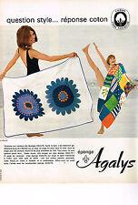 PUBLICITE ADVERTISING  1966   AGALYS  draps linge de maison éponges