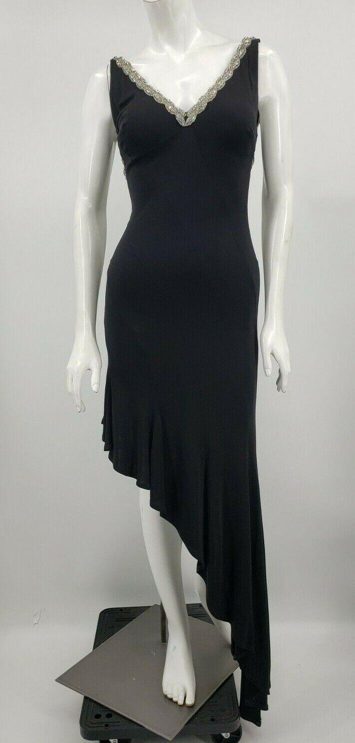 Nicole Bakti Cocktail Dress damen XS schwarz Rhinestones Asymmetrical Prom