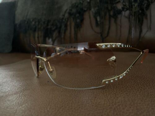 Versace Womens Sunglasses Gold Rhinestone Authenti