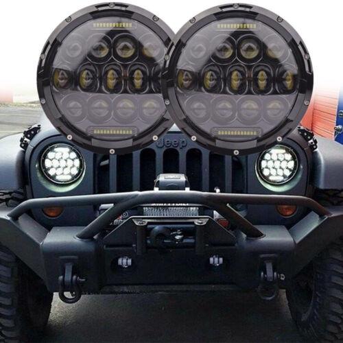 2X 7inch 75W Round CREE LED Headlight Hi//Low Beam DRL For Jeep Wrangler JK TJ LJ