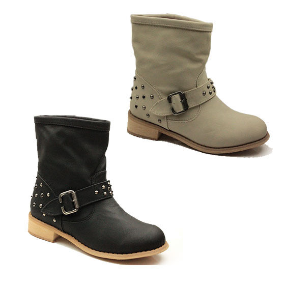 WOMENS GRUNGE LOW BLOCK HEEL ANKLE BOOTS BIKER BOOTEIS LADIES SHOES NEW SIZE 3-8