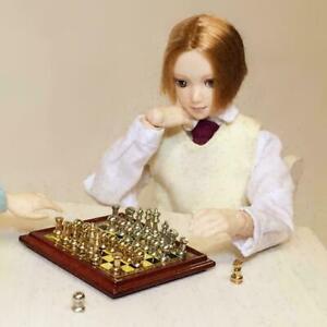 Puppenhaus-Miniatur-Vintage-Silber-Gold-Schachspiel-1-Toy-Sc-Pretend-12th-Z1H3