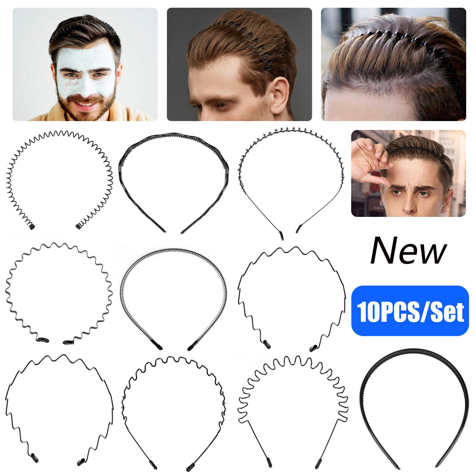 6 x Black Assorted Styles Stretch Alice Headband Hair Elastics Forehead Bands