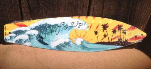"Surfs Up Ocean Waves Sunset Mini Novelty Beach Surf Board Sign 17/"" x 4.5/"""