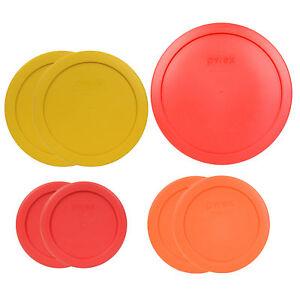 Pyrex 7202-PC Red 7200-PC Orange 7201-PC Yellow 7402-PC Red 7PC Plastic Lids