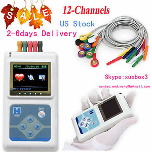 Tragbar-dynamische-Holter-12-Channel-ECG-EKG-Machine-Monitor-24hr-Sync-PC-Software