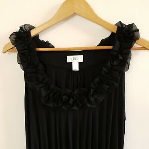 Ann-Taylor-LOFT-Women-039-s-Dress-Black-Jersey-Sleeveless-Chiffon-Size-M