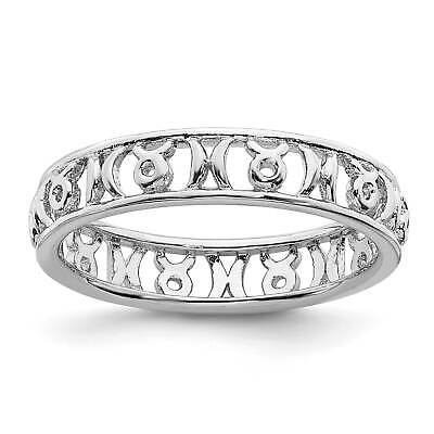 .925 Sterling Silver Rhodium-Plated Polished Beaded Stackable Ring Sz 5-10