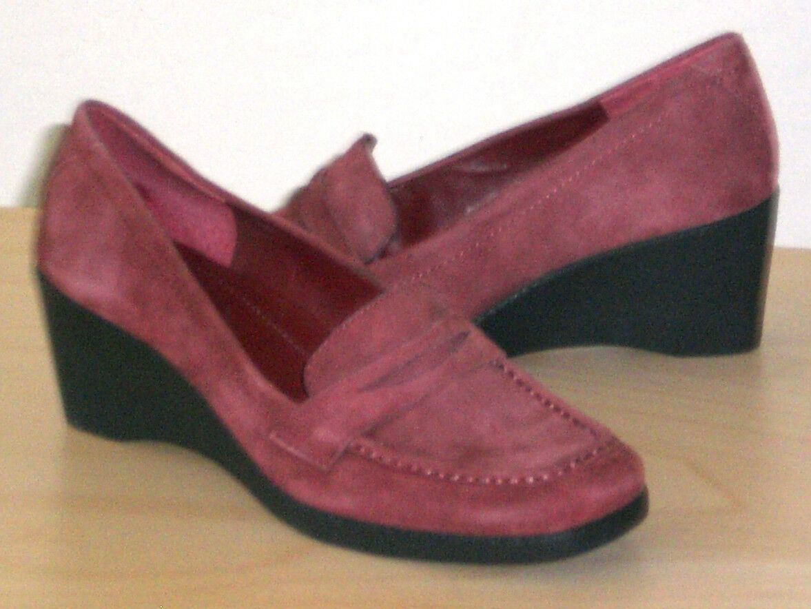 Easy Spirit Armor wedge loafer moccasin RED suede leather sz 6 Med NEW