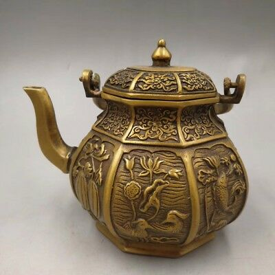 Chinese Antique Old Copper Handmade Lotus Swan Teapot Flagon Home Decoration Fine Craftsmanship