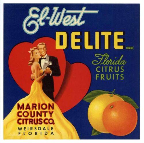 Dancing Hearts *AN ORIGINAL LABEL* EL WEST Vintage Florida Citrus Crate Label