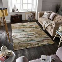 Smudgy Art Deco Stylish Beige Multi Col Modern Contemporary Easycare Rugs 30%off