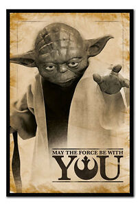 Framed Star Wars Yoda May The Force Be With You Poster Ebay