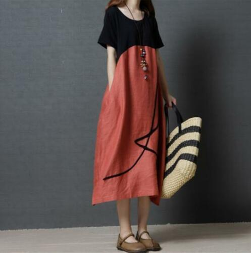 New Womens Loose Floral Leisure Dress Kaftan vogue Fit Summer Short Sleeve Gown