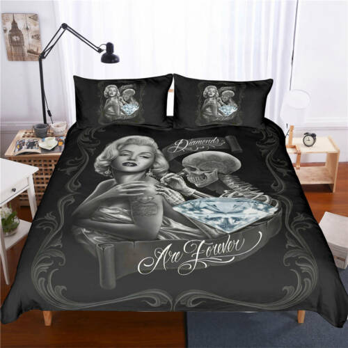 New 3D Skull Beauty Design Bedding Sets 2PC//3PC Of Duvet Cover /& Pillowcase