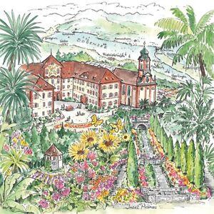 20-Servietten-034-Insel-Mainau-034-33x33-Napkins-Schloss-Garten-Haeuser-Blumen-Tiere