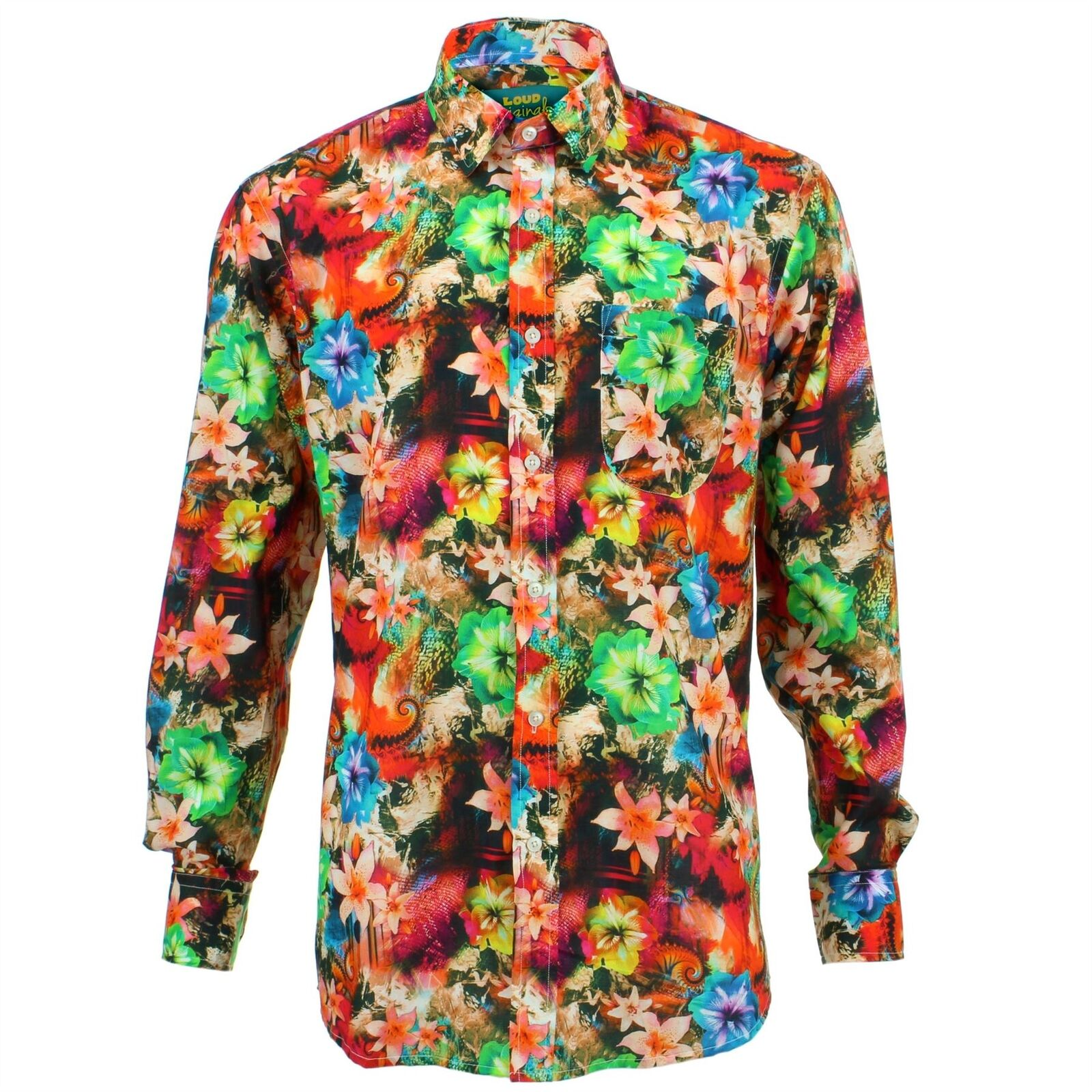 Men's Loud Shirt REGULAR FIT Floral Red Retro Psychedelic Fancy