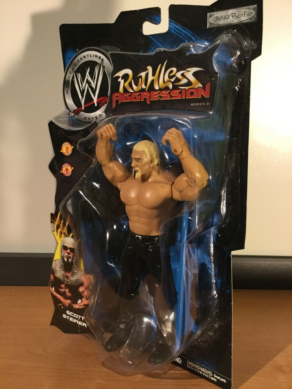 Comme neuf on Card WWE Ruthless Aggression série 3 Scott Steiner 2003 Jakks Pacific