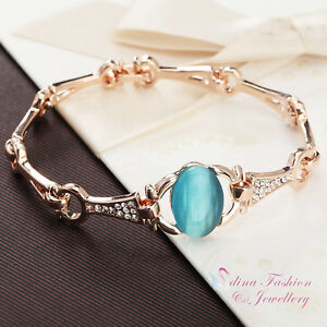 18K-Rose-Gold-Plated-Simulated-Opal-Oval-Cut-Ocean-Blue-Fashion-Bracelet